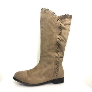 Comfortview Tan Suede Lace Tall Knee High Boots